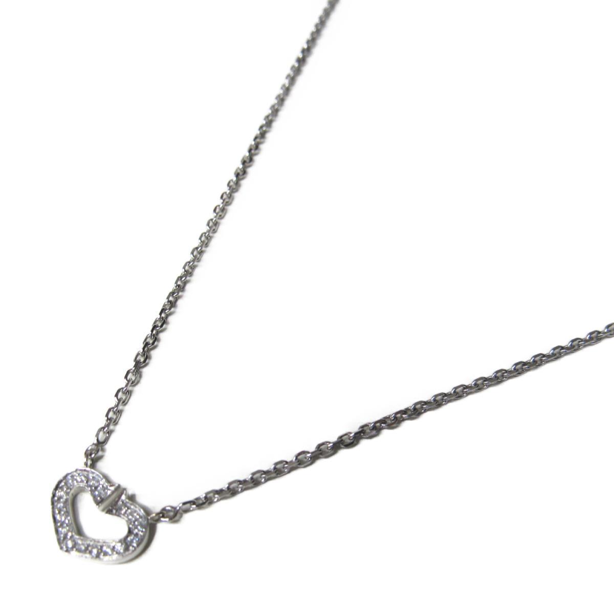 【中古】 カルティエ Cハート ダイヤモンド ネックレス レディース K18WG (750) ホワイトゴールド x   Cartier BRANDOFF ブランドオフ ブランド アクセサリー ペンダント
