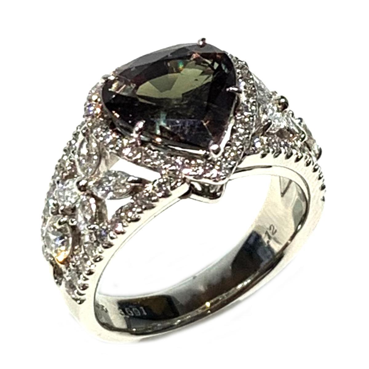【中古】 ジュエリー アレキサンドライト ダイヤモンド リング 指輪 レディース PT900 プラチナ x シルバー グリーン | JEWELRY BRANDOFF ブランドオフ ブランド アクセサリー