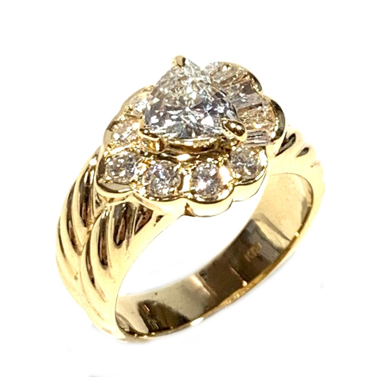 【中古】 ジュエリー ダイヤモンド リング 指輪 レディース K18YG (750) イエローゴールド x ゴールド | JEWELRY BRANDOFF ブランドオフ ブランド アクセサリー