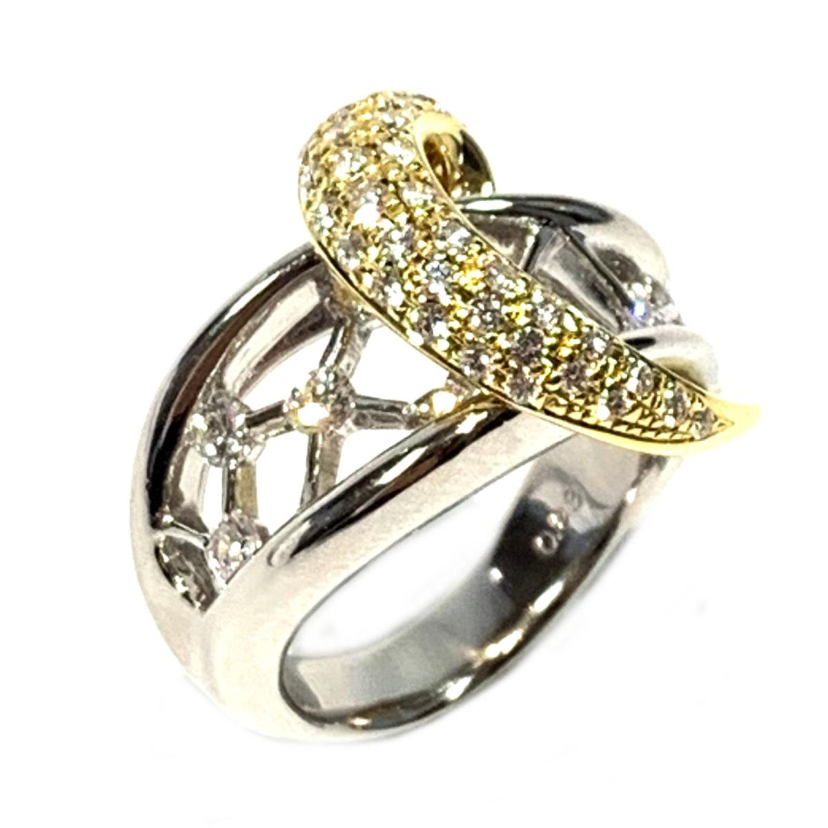 【中古】 ジュエリー ダイヤモンド リング 指輪 レディース PT900 プラチナ x K18 (750) シルバー ゴールド | JEWELRY BRANDOFF ブランドオフ ブランド アクセサリー