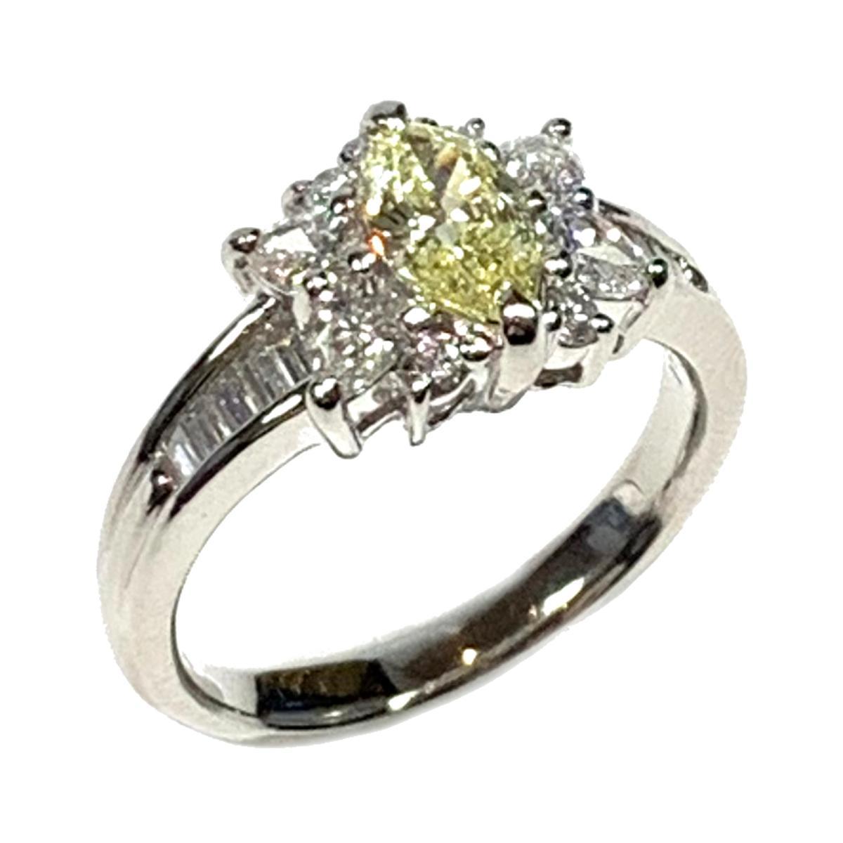 【中古】 ジュエリー ダイヤモンド リング 指輪 レディース PT900 プラチナ x シルバー イエロー | JEWELRY BRANDOFF ブランドオフ ブランド アクセサリー