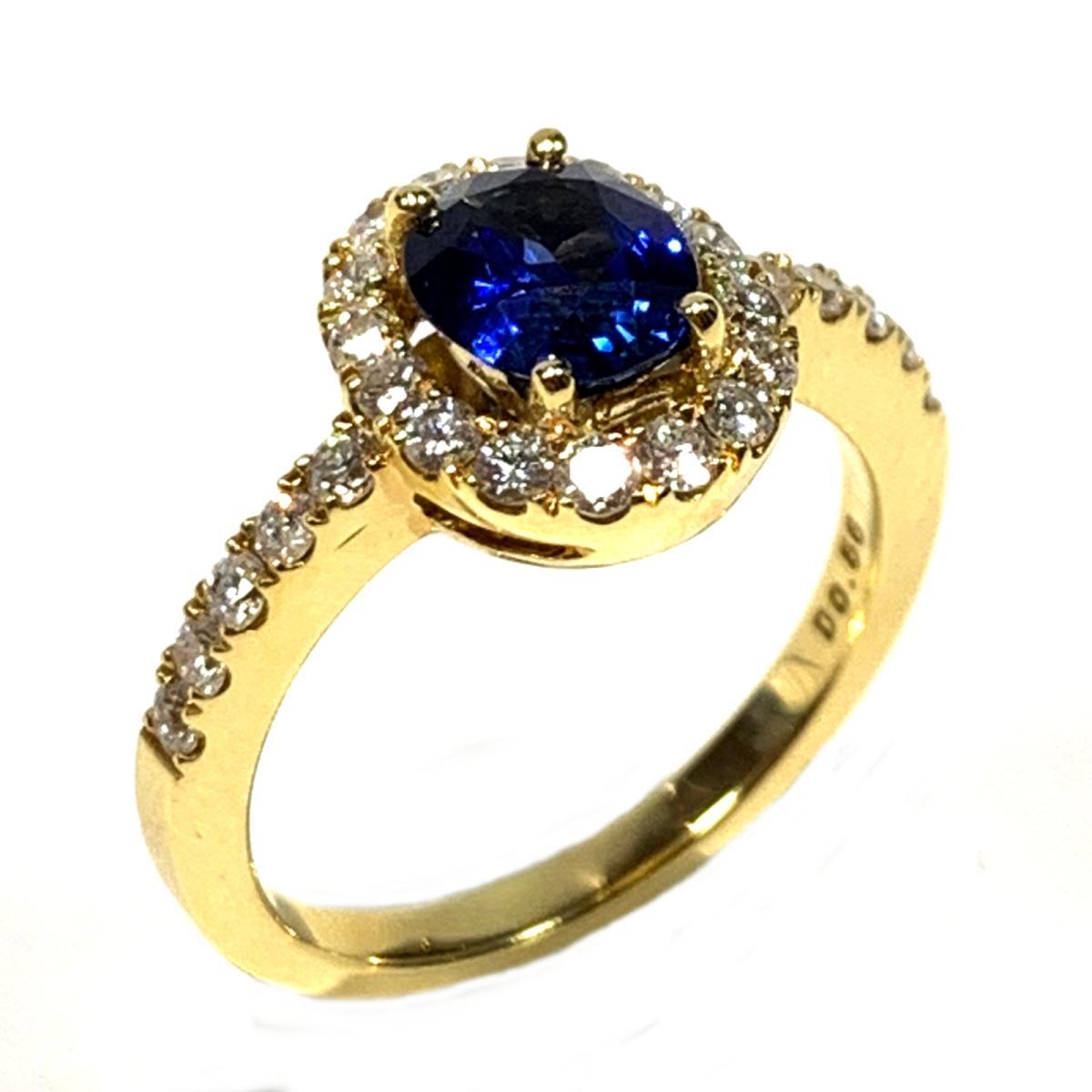 【中古】 ジュエリー サファイア ダイヤモンド リング 指輪 レディース K18YG (750) イエローゴールド x ゴールド ブルー | JEWELRY BRANDOFF ブランドオフ ブランド アクセサリー