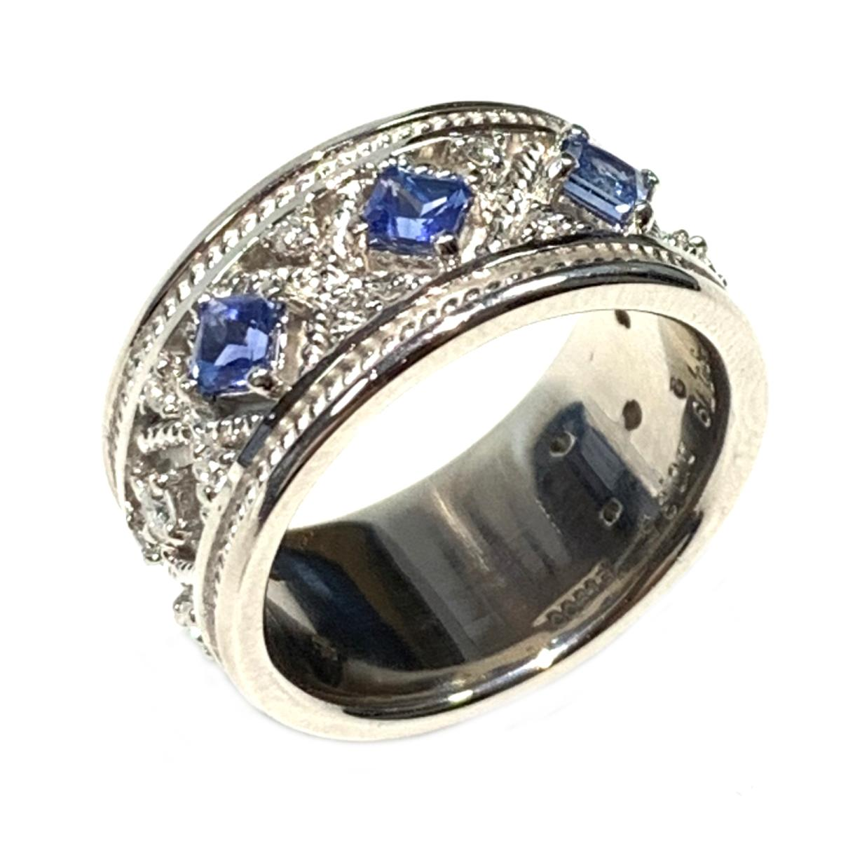 【中古】 ジュエリー サファイア ダイヤモンド リング 指輪 レディース PT900 プラチナ x 0.79ct 0.35ct シルバー ブルー | JEWELRY BRANDOFF ブランドオフ ブランド アクセサリー