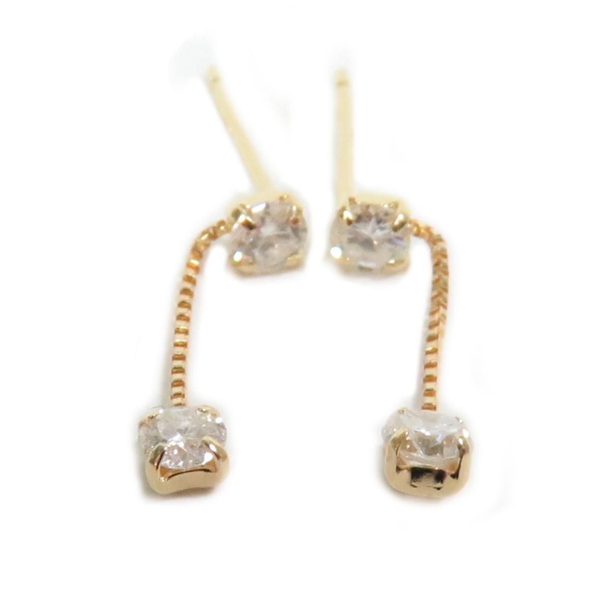 【中古】 ジュエリー ダイヤモンド ピアス レディース K18YG (750) イエローゴールド / ダイヤモンド0.15ct x 2 | JEWELRY BRANDOFF ブランドオフ ブランド アクセサリー