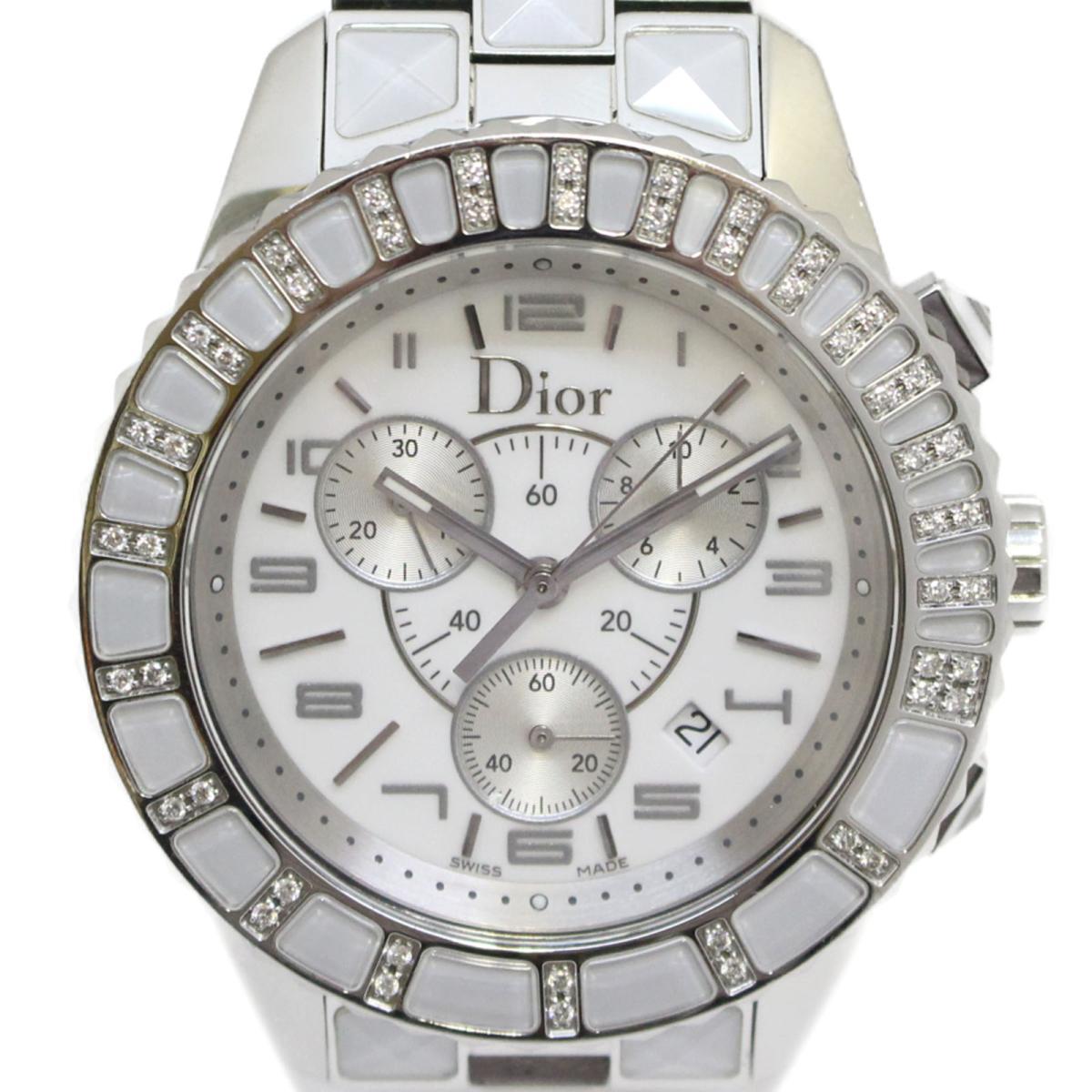 クリスチャン・ディオール クリスタルクロノ ダイヤベゼル 腕時計 ウォッチ メンズ ステンレススチールSSx ホワイト シルバーCD114311Dior BRANDOFF ブランドオフ レディース ブランド ブランド時計 ブランド腕時計 時計Yf7yb6g