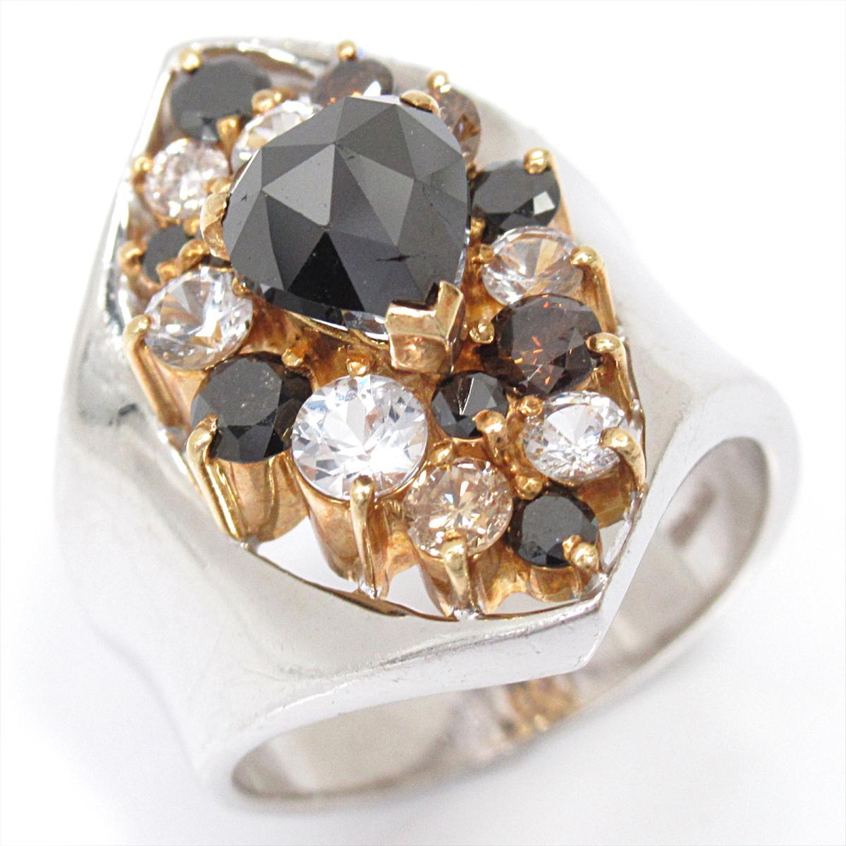 【中古】 ジュエリー ブラックダイヤモンド リング 指輪 レディース K18WG (750) ホワイトゴールド x K18YG (イエローゴールド) ダイヤモンド | JEWELRY BRANDOFF ブランドオフ ブランド アクセサリー