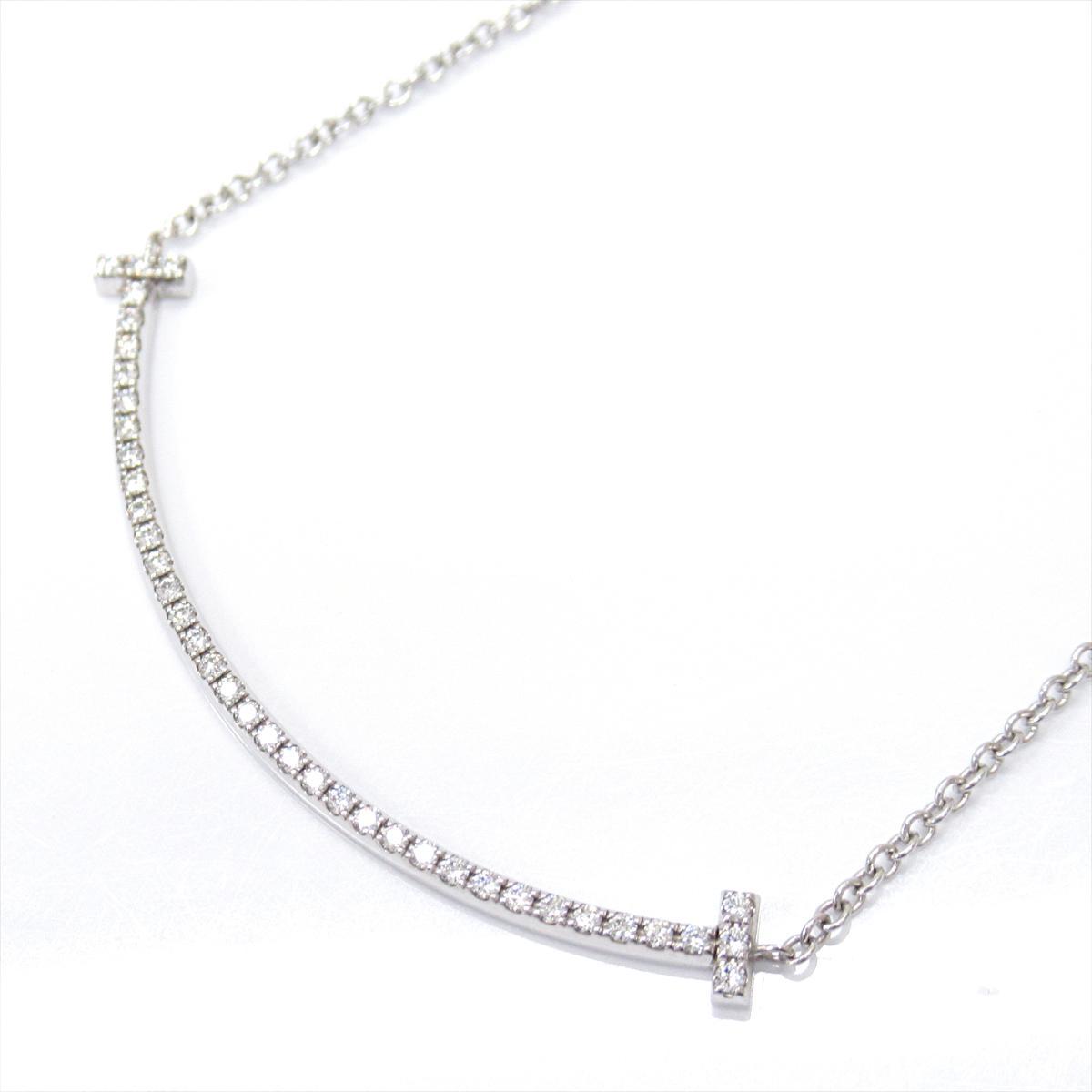 【中古】 ティファニー Tスマイル ダイヤモンド ネックレス レディース K18WG (750) ホワイトゴールド x | TIFFANY&CO BRANDOFF ブランドオフ ブランド アクセサリー ペンダント