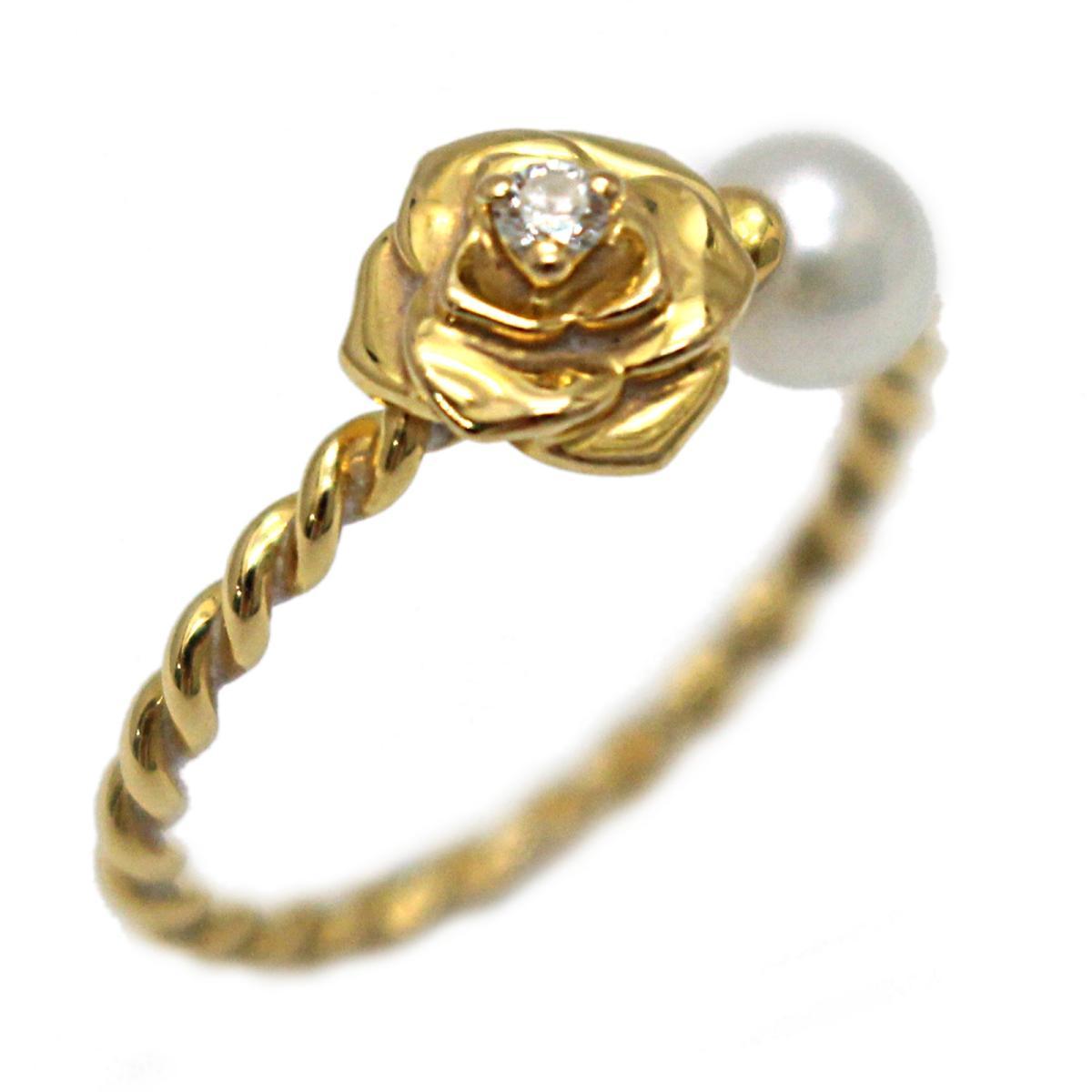 【中古】 ピアジェ ダイヤモンド パール ローズリング 指輪 レディース K18YG (750) イエローゴールド クリアー x ホワイト ゴールド (G34UV248)   PIAGET BRANDOFF ブランドオフ ブランド ジュエリー アクセサリー リング
