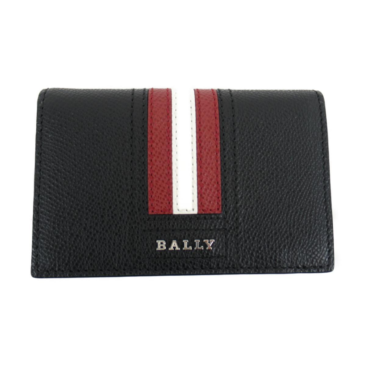 バリー ストライプパスケース付 カードケース 名刺入れ レディース レザー ブラック (6218025)   BALLY BRANDOFF ブランドオフ ブランド 定期入れ パスケース