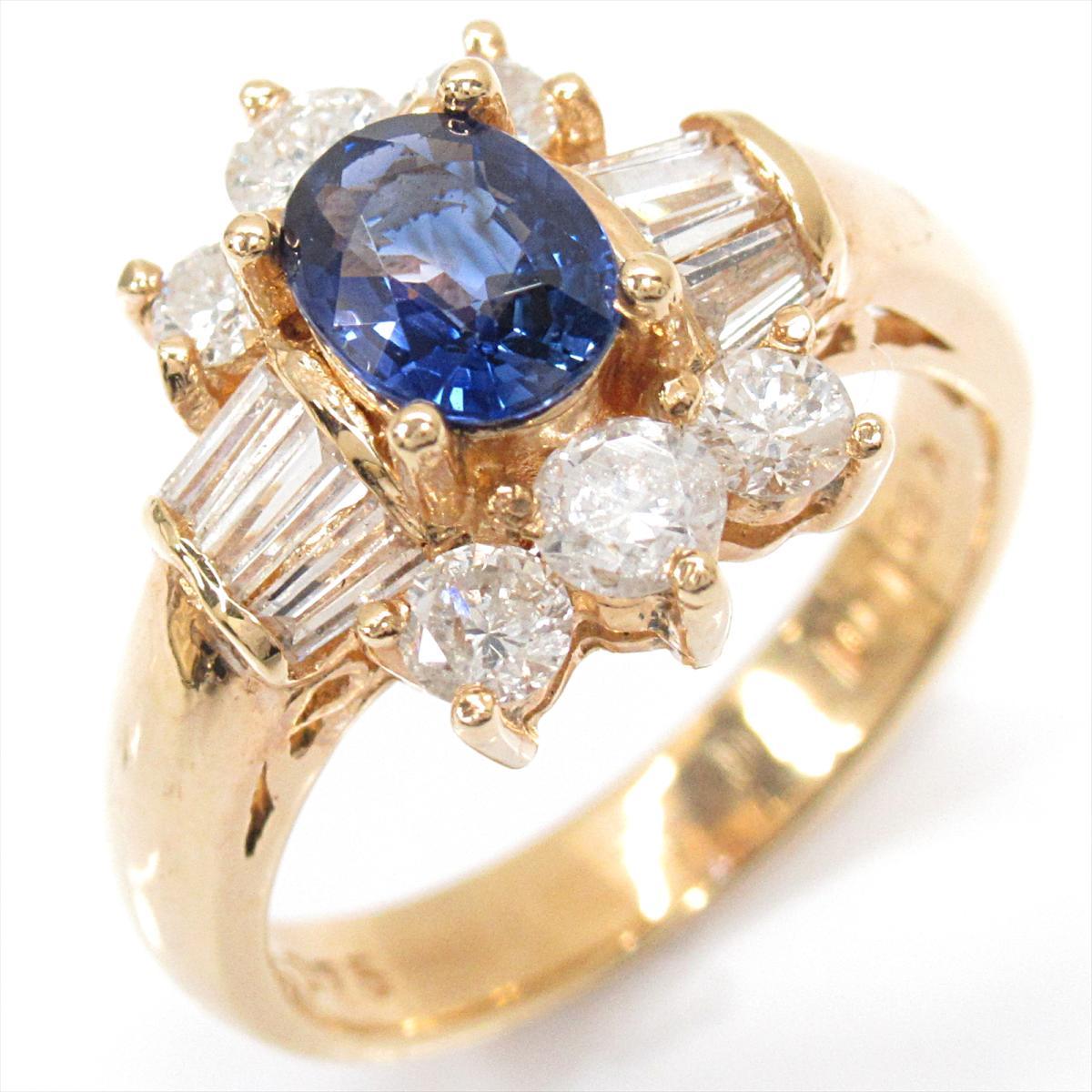 【中古】 ジュエリー サファイア リング 指輪 レディース K18YG (750) イエローゴールド x ダイヤモンド | JEWELRY BRANDOFF ブランドオフ ブランド アクセサリー