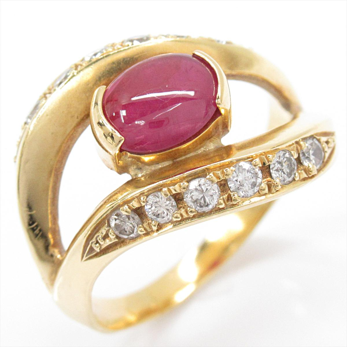【中古】 ジュエリー スタールビー リング 指輪 レディース K18YG (750) イエローゴールド x (1.20ct) ダイヤモンド (0.44ct) | JEWELRY BRANDOFF ブランドオフ ブランド アクセサリー