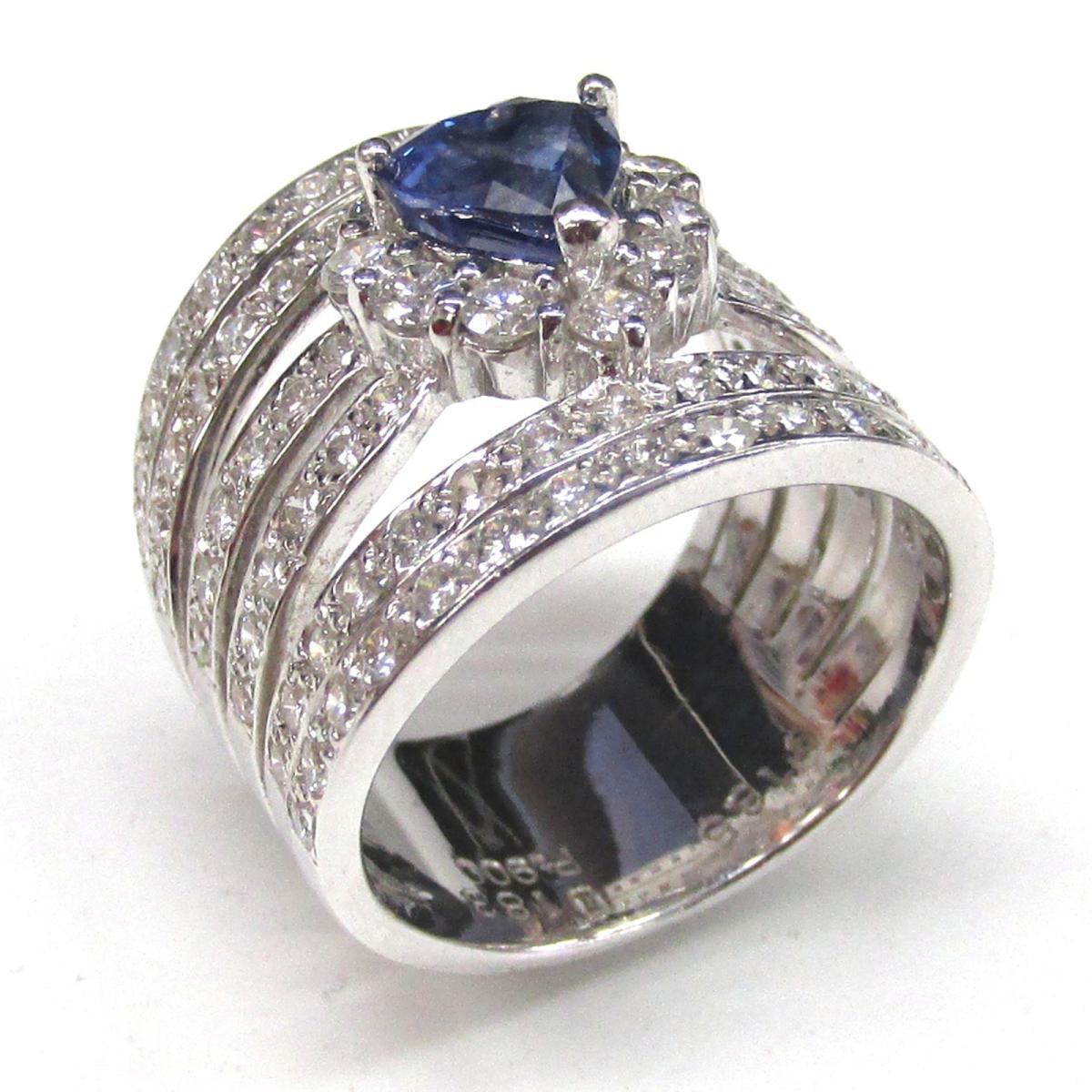 【中古】 ジュエリー サファイア ダイヤモンド リング 指輪 レディース PT900 プラチナ x | JEWELRY BRANDOFF ブランドオフ ブランド アクセサリー