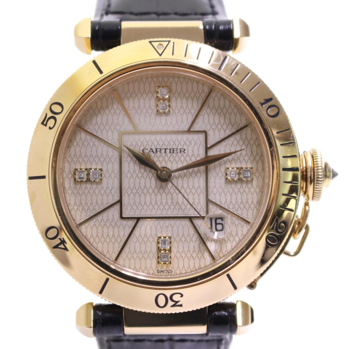 【中古】 カルティエ パシャ 腕時計 ウォッチ レディース K18YG (750)イエローゴールド ダイヤモンド レザーベルト (MG244725) | Cartier BRANDOFF ブランドオフ ブランド ブランド時計 ブランド腕時計 時計