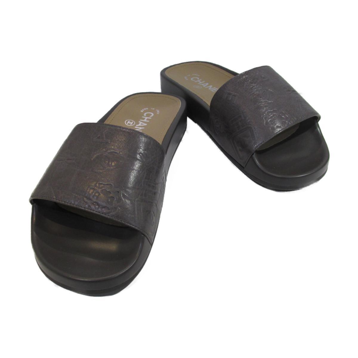 【中古】 シャネル 16P サンダル レディース レザー グレー (G31674X47767)   CHANEL BRANDOFF ブランドオフ ブランド 靴 シューズ クツ