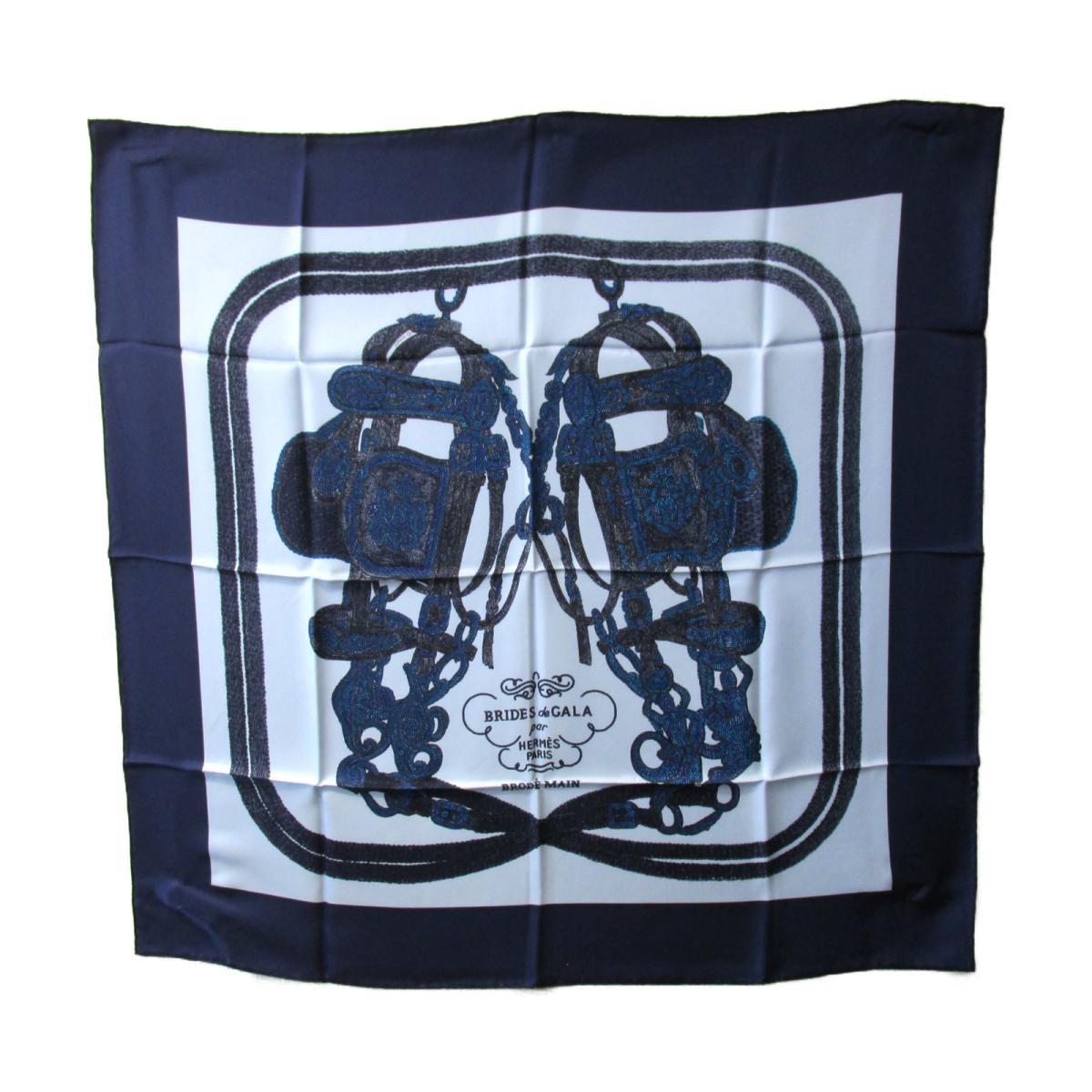【中古】 エルメス スカーフ レディース シルク ブルー ネイビー | HERMES BRANDOFF ブランドオフ ブランド