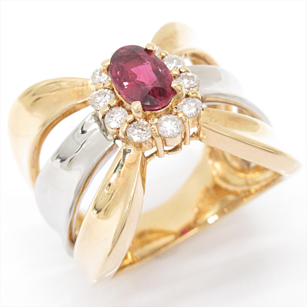 【中古】 ジュエリー ルビー リング 指輪 レディース K18YG (750) イエローゴールド x PT900 (プラチナ) ダイヤモンド   JEWELRY BRANDOFF ブランドオフ ブランド アクセサリー