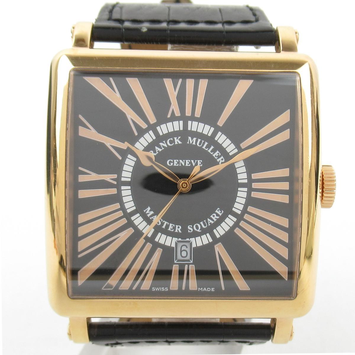 【中古】 フランク・ミュラー マスタースクエア レリーフ 腕時計 メンズ K18PG (ピンクゴールド) クロコレザー (6000K SC DTR) | FRANCK MULLER BRANDOFF ブランドオフ ブランド ブランド時計 ブランド腕時計 時計