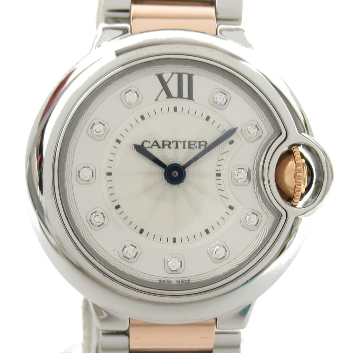 【中古】 カルティエ バロンブルーSM 11P ダイヤモンド 腕時計 レディース ステンレススチール (SS) K18PG (ピンクゴールド) (WE902030) | Cartier BRANDOFF ブランドオフ ブランド ブランド時計 ブランド腕時計 時計
