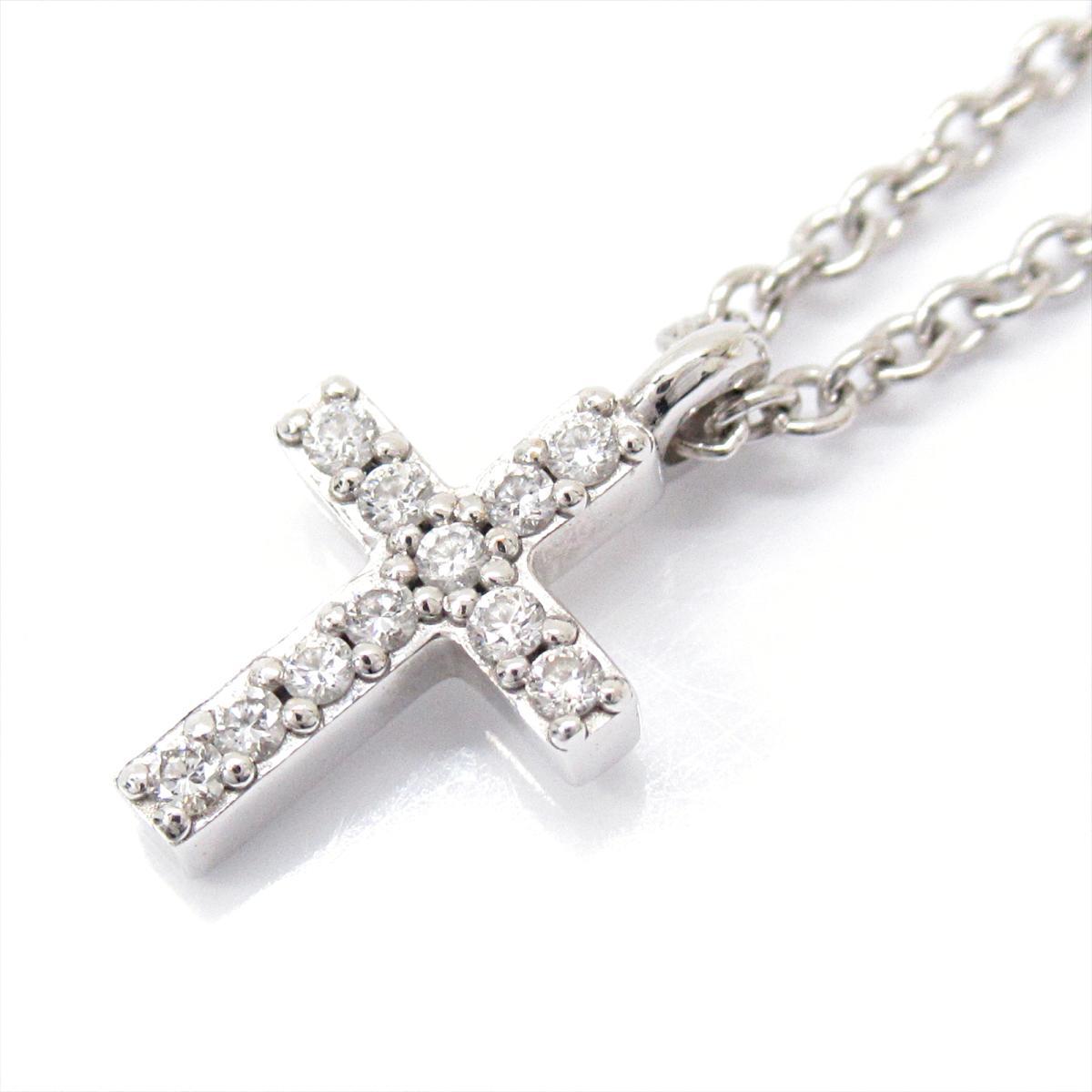 【中古】 ティファニー メトロクロス ネックレス ダイヤモンド ペンダント レディース K18WG (750) ホワイトゴールド x   TIFFANY&CO BRANDOFF ブランドオフ ブランド アクセサリー