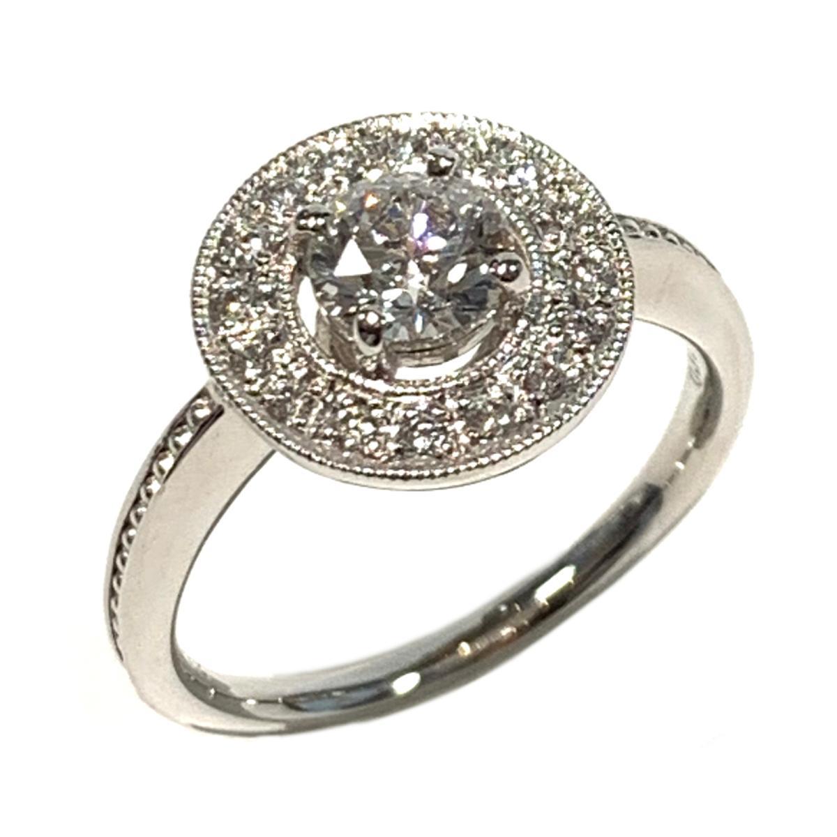 【中古】 ジュエリー ダイヤモンド リング 指輪 レディース PT900 プラチナ x ダイヤ0.502/0.12ct クリアー シルバー | JEWELRY BRANDOFF ブランドオフ ブランド アクセサリー