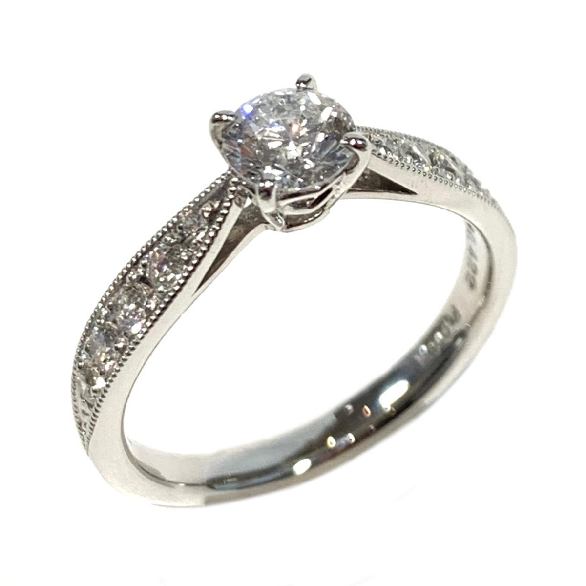 【中古】 ジュエリー ダイヤモンド リング 指輪 レディース PT900 プラチナ x ダイヤ0.422/0.22ct クリアー シルバー   JEWELRY BRANDOFF ブランドオフ ブランド アクセサリー