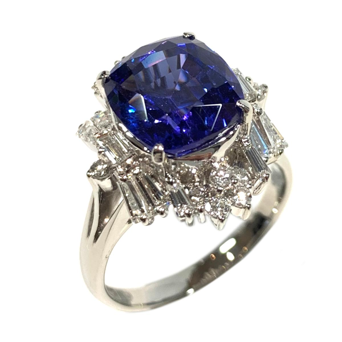 【中古】 ジュエリー タンザナイト ダイヤモンド リング 指輪 レディース PT900 プラチナ x タンザナイト4.852 ダイヤ1.00ct ブルー クリアー シルバー | JEWELRY BRANDOFF ブランドオフ ブランド アクセサリー