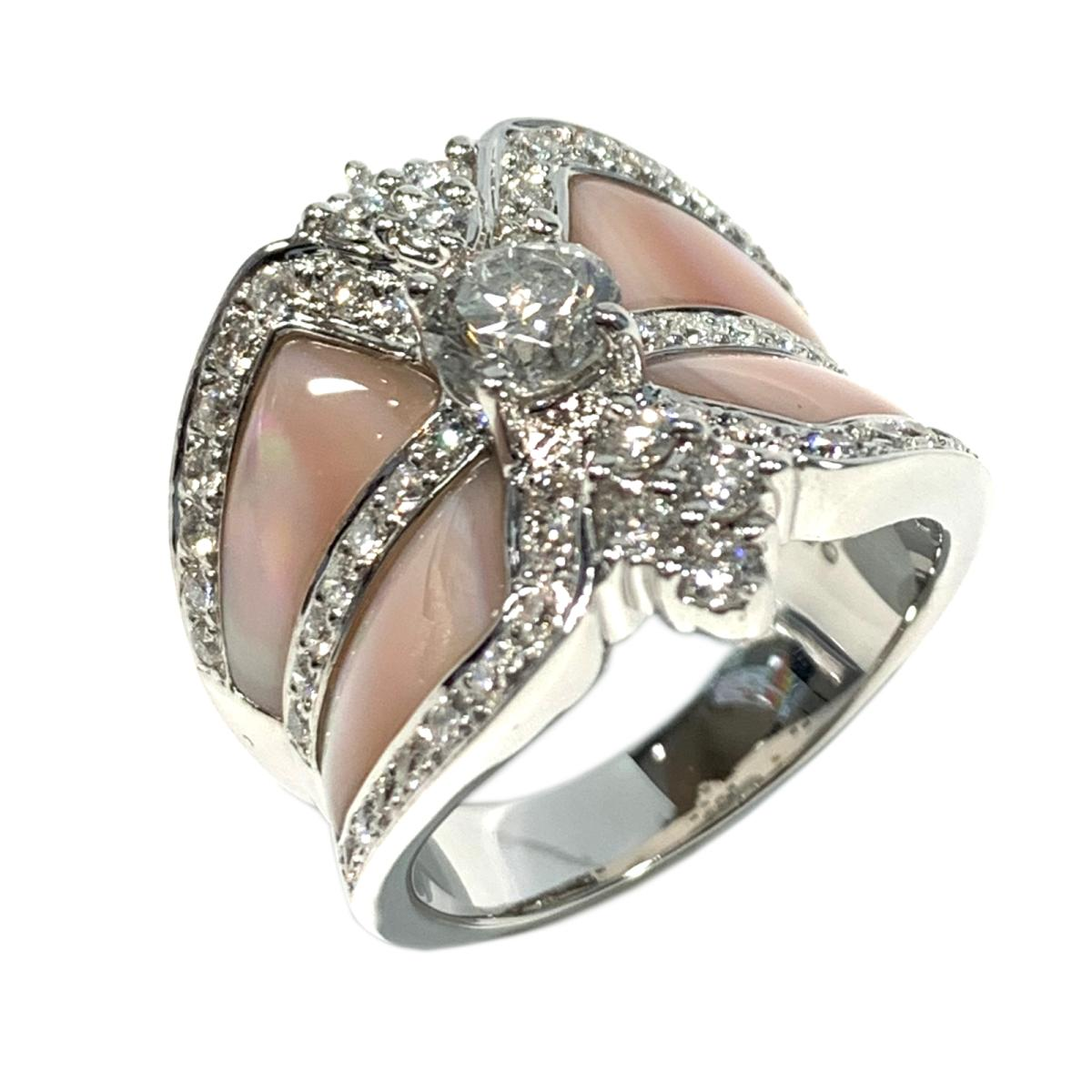 【中古】 ジュエリー マザーオブパール ダイヤモンド リング 指輪 レディース K18WG (750) ホワイトゴールド x ダイヤ0.90/0.72ct ピンク クリアー シルバー | JEWELRY BRANDOFF ブランドオフ ブランド アクセサリー