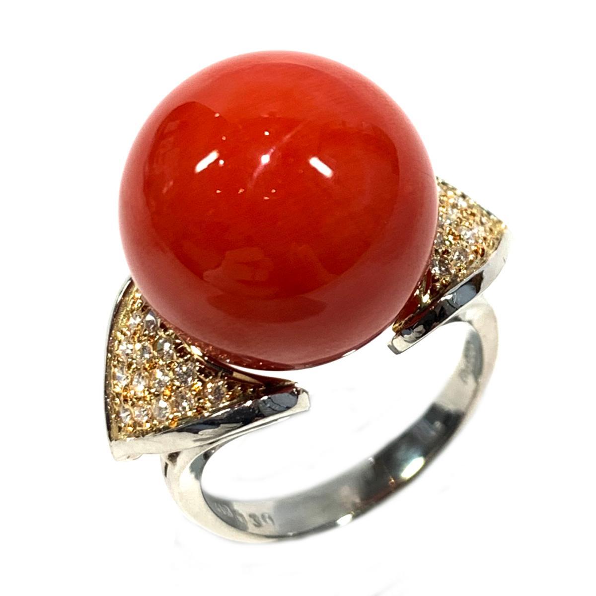 【中古】 ジュエリー サンゴリング 指輪 レディース PT900 プラチナ x K18 ダイヤモンド0.30ct レッド クリアー ゴールド シルバー   JEWELRY BRANDOFF ブランドオフ ブランド アクセサリー リング