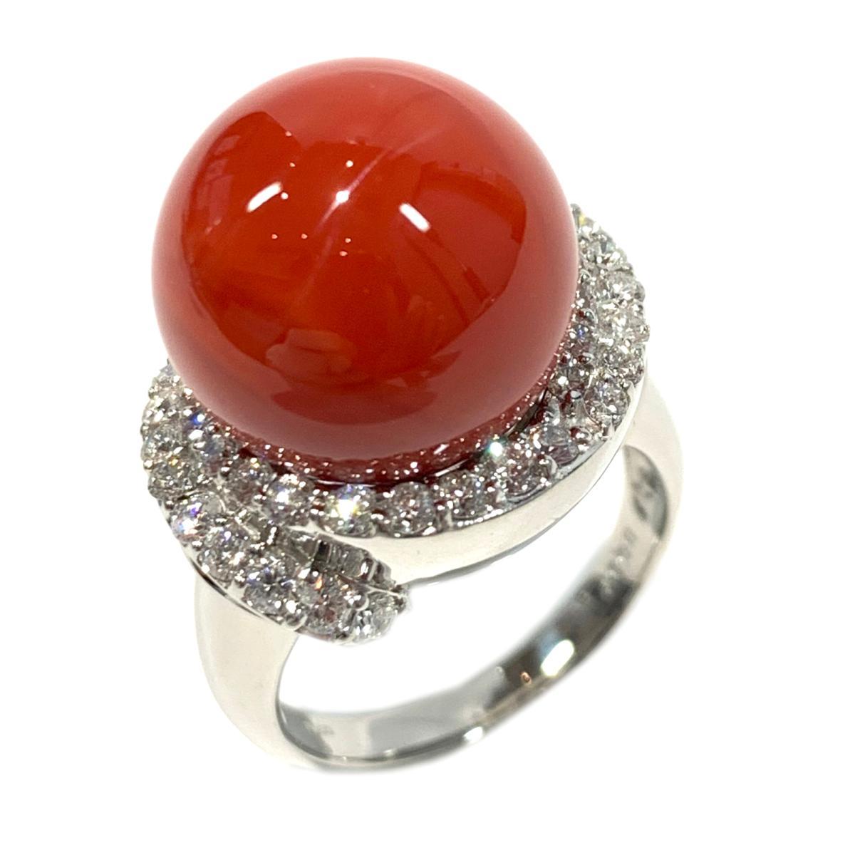 【中古】 ジュエリー サンゴリング 指輪 レディース PT900 プラチナサンゴ3087ct x ダイヤモンド0.97ct レッド クリアー シルバー | JEWELRY BRANDOFF ブランドオフ ブランド アクセサリー リング