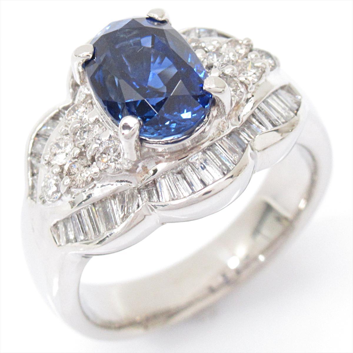 【中古】 ジュエリー サファイア リング 指輪 レディース PT900 プラチナ x (2.50ct) ダイヤモンド (1.00ct)   JEWELRY BRANDOFF ブランドオフ ブランド アクセサリー