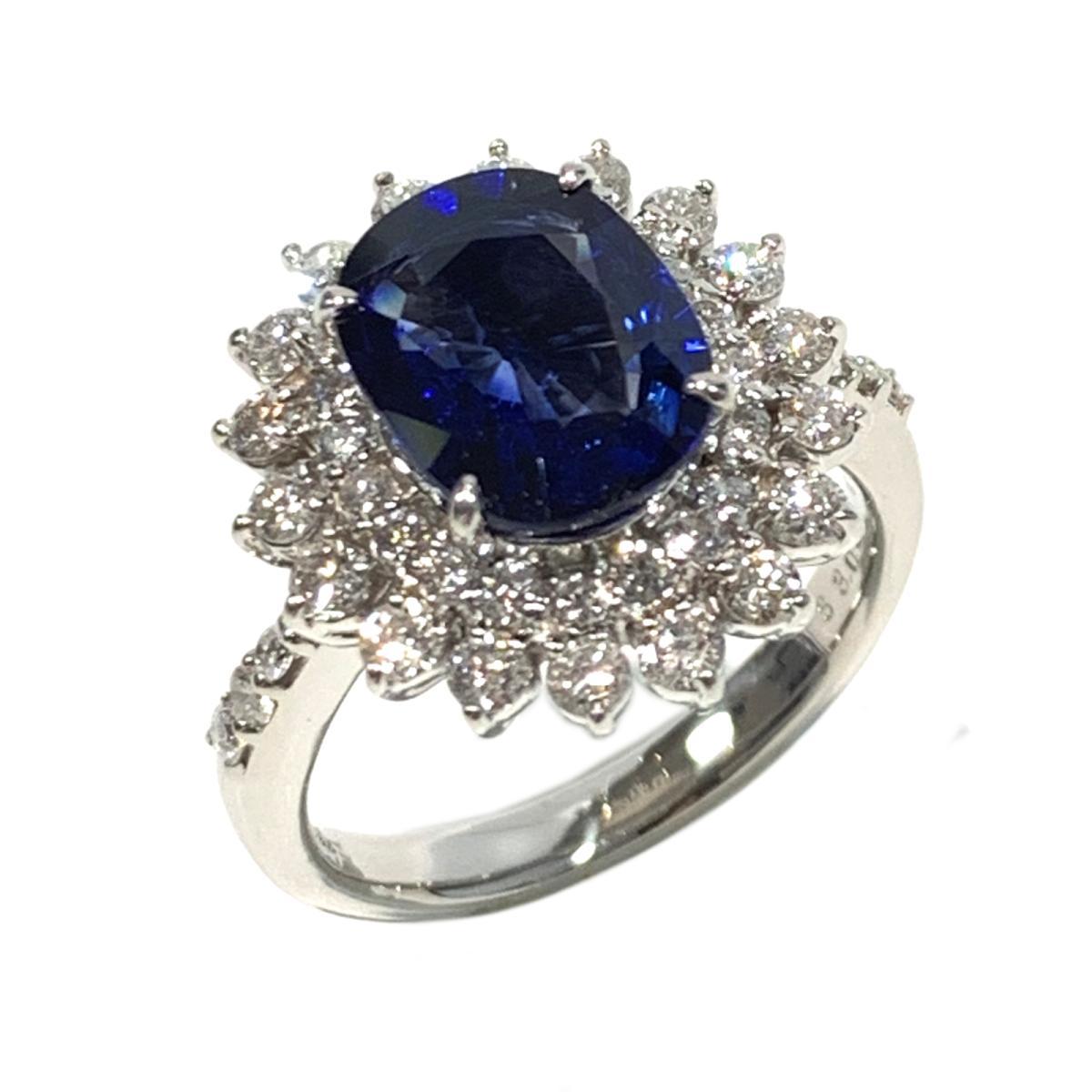 【中古】 ジュエリー サファイア ダイヤモンド リング 指輪 レディース PT900 プラチナ x サファイア3.03 ダイヤ0.94ct ブルー クリアー シルバー | JEWELRY BRANDOFF ブランドオフ ブランド アクセサリー