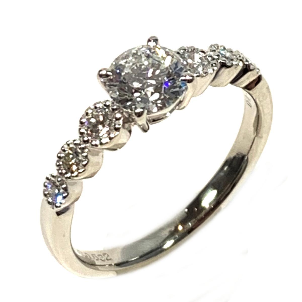 【中古】 ジュエリー ダイヤモンドリング 指輪 レディース PT900 プラチナ x ダイヤモンド0.632ct 0.20ct シルバー クリアー | JEWELRY BRANDOFF ブランドオフ ブランド アクセサリー リング