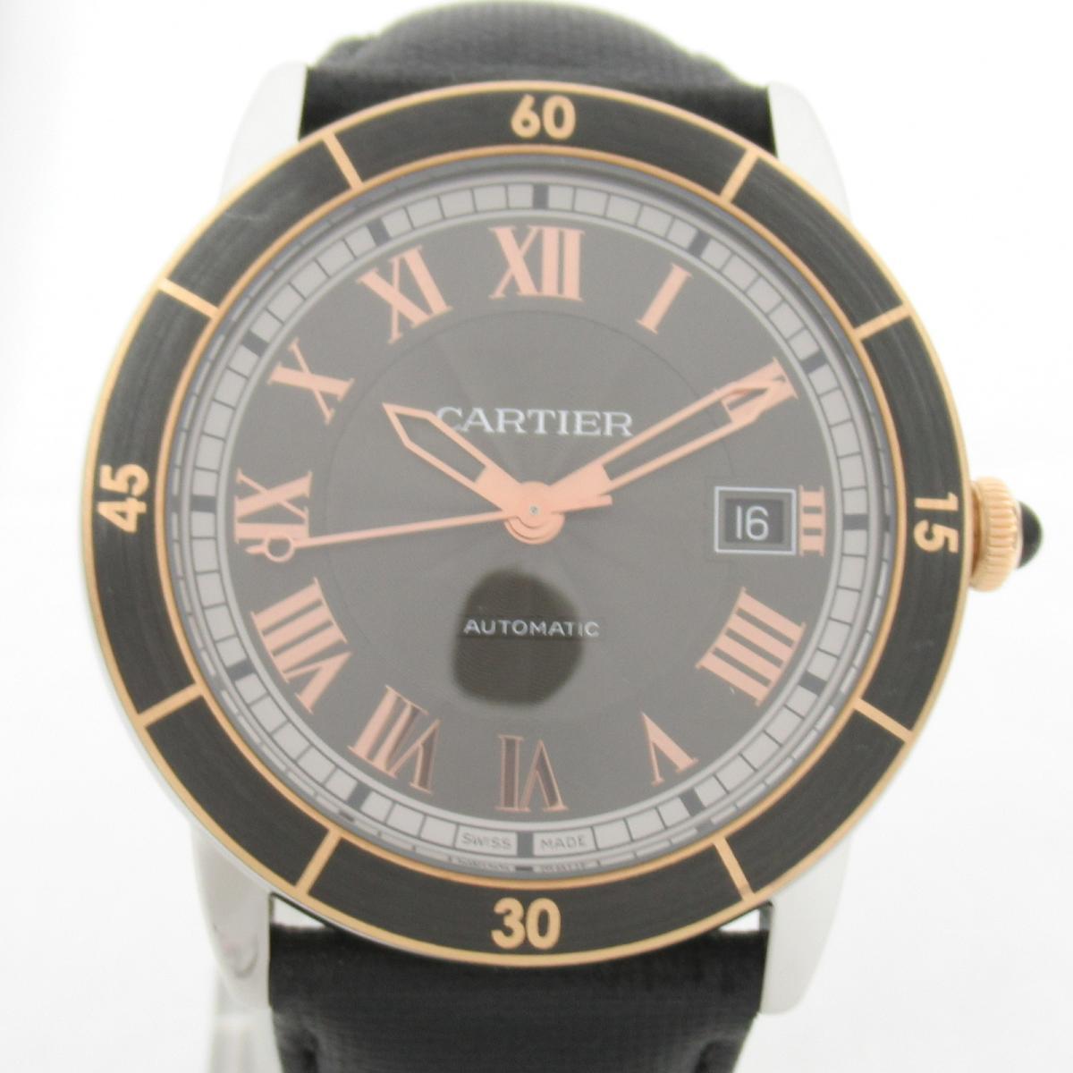 ≪期間限定≫メルマガ登録でクーポンGET! 【中古】 カルティエ ロンド クロアジュール ウォッチ 腕時計 メンズ レザーベルト ステンレススチール (SS) PG (メッキ) (W2RN0005) | Cartier BRANDOFF ブランドオフ ブランド ブランド時計 ブランド腕時計 時計