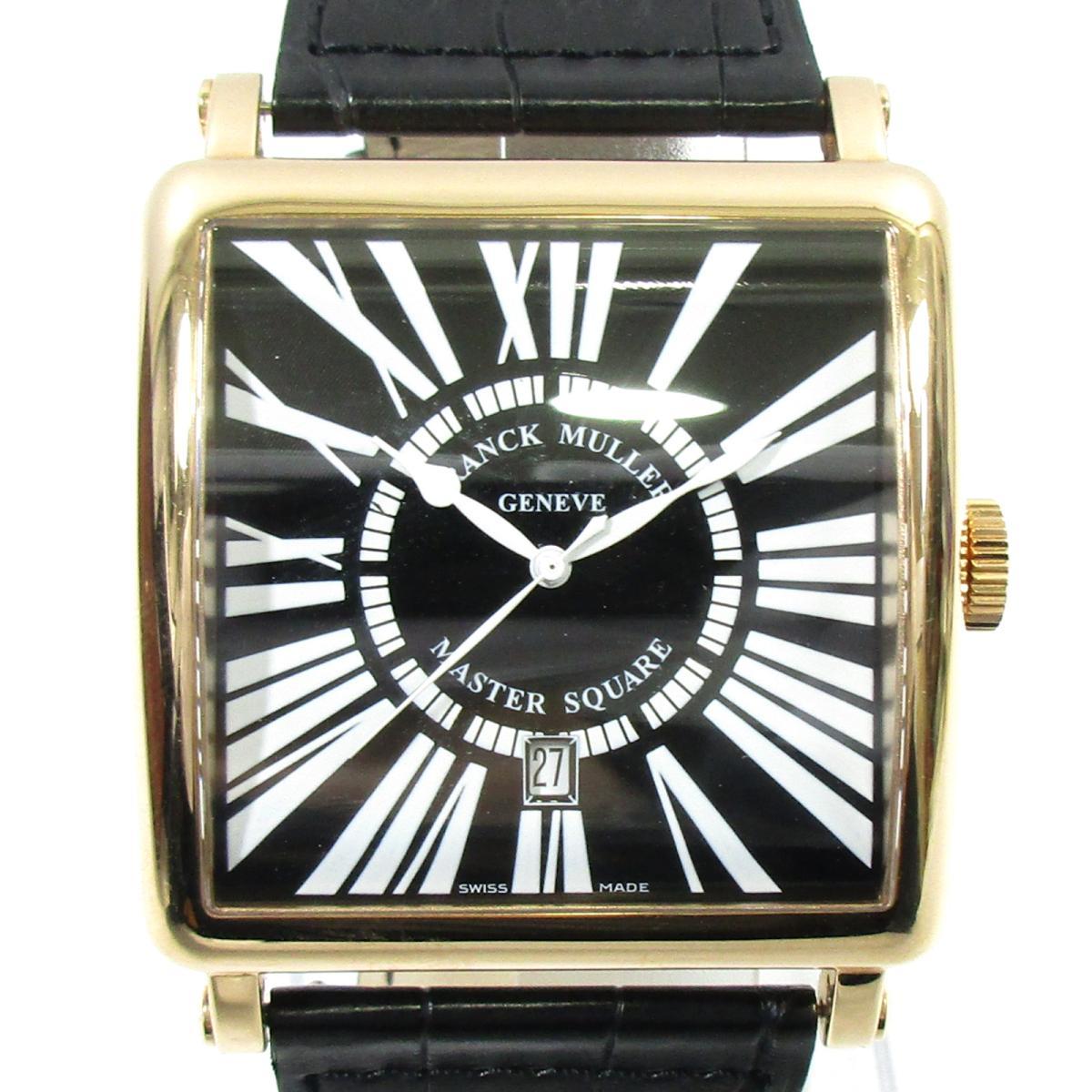 【中古】 フランク・ミュラー マスタースクエア レリーフ 腕時計 メンズ K18PG (ピンクゴールド) クロコレザー ブラック (600KSCDTR)   FRANCK MULLER BRANDOFF ブランドオフ ブランド ブランド時計 ブランド腕時計 時計