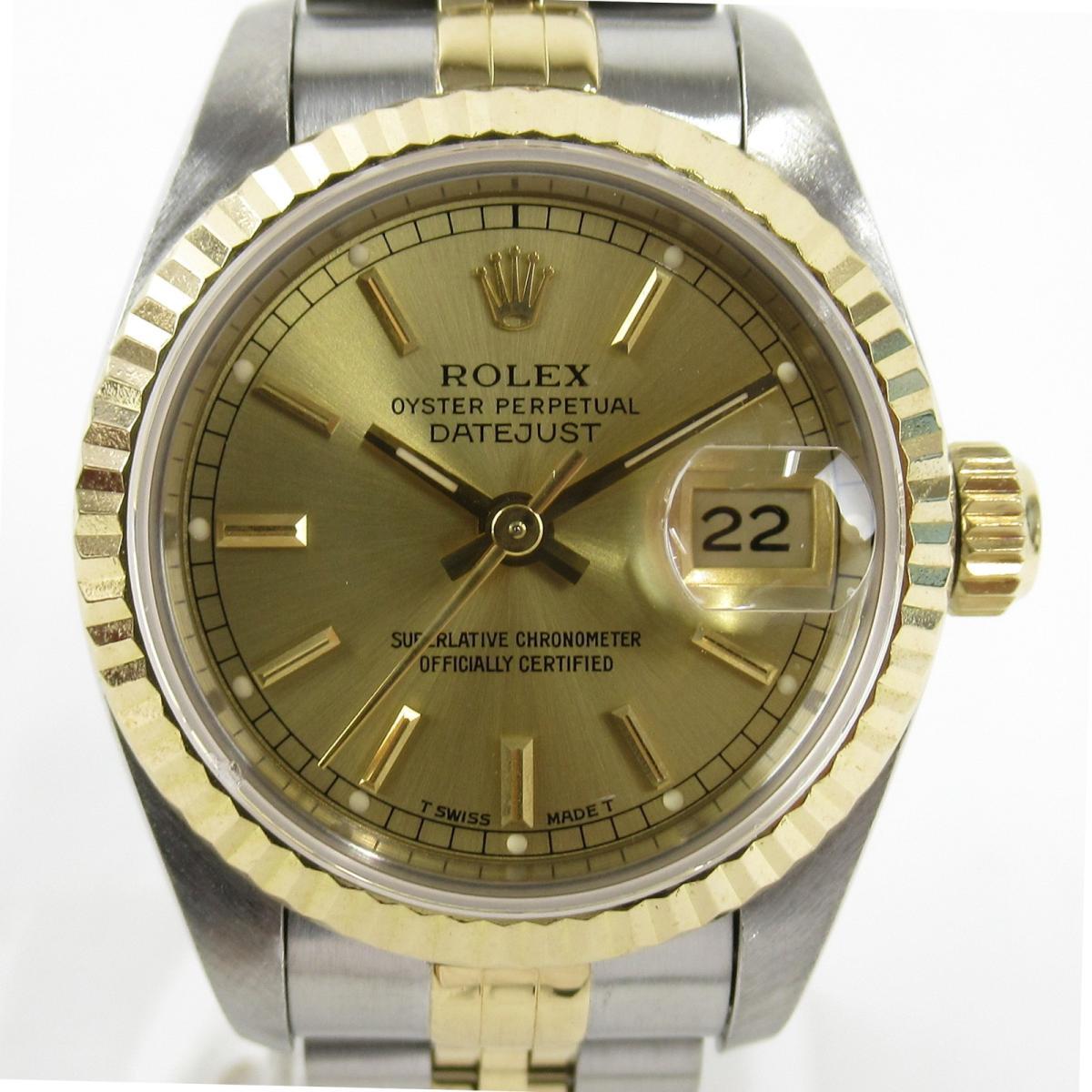 【中古】 ロレックス デイトジャスト 腕時計 レディース K18YG (750)イエローゴールド ステンレススチール (SS) (69173 S番) | ROLEX BRANDOFF ブランドオフ ブランド ブランド時計 ブランド腕時計 時計 ウォッチ