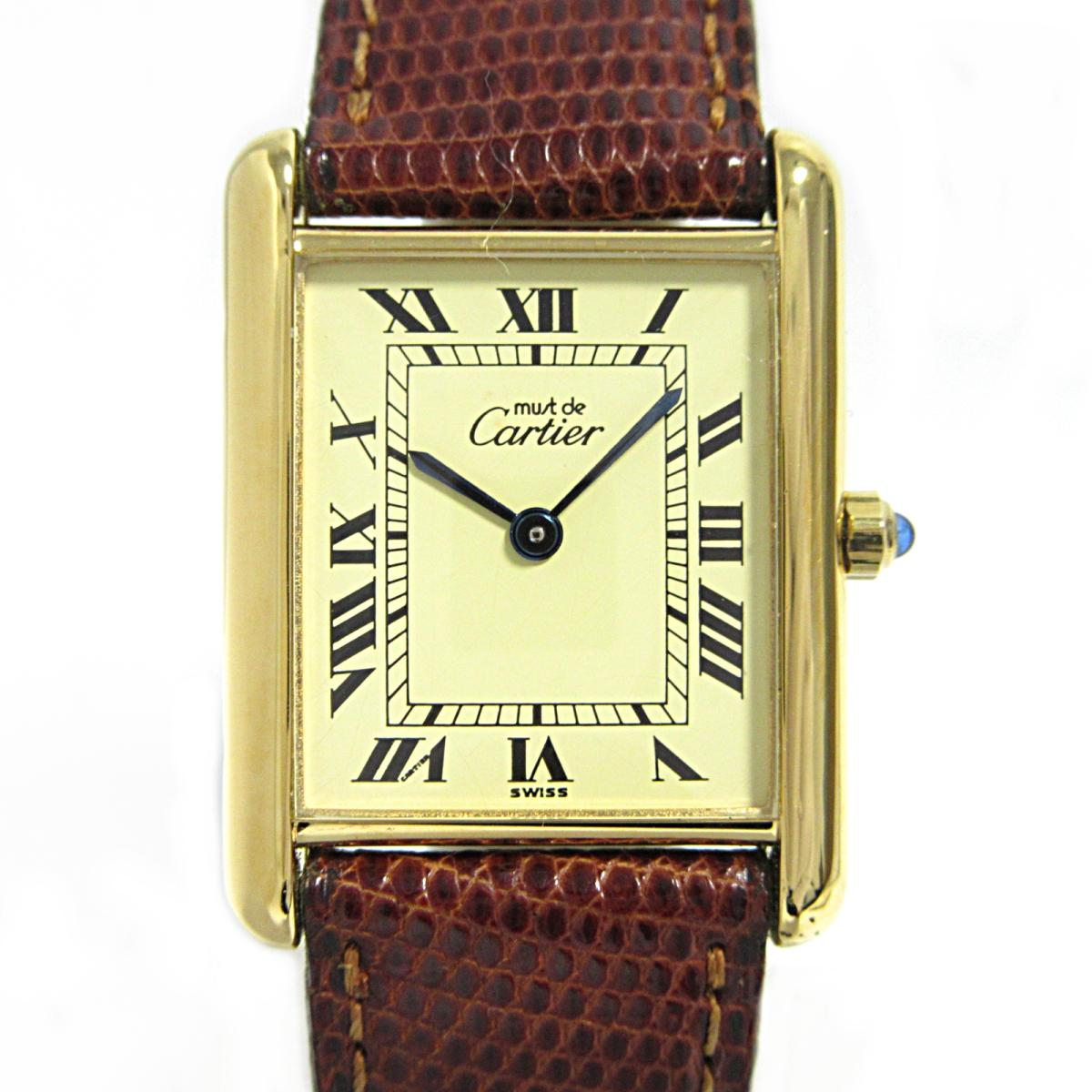 ≪期間限定≫メルマガ登録でクーポンGET! 【中古】 カルティエ マストタンク 腕時計 ウォッチ レディース SV リザードベルト ゴールド | Cartier BRANDOFF ブランドオフ ブランド ブランド時計 ブランド腕時計 時計