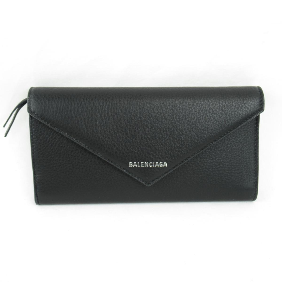 バレンシアガ PAPIER ZA THIN MONEY 二つ折り長財布 レディース レザー ブラック (499207DLQ0N1000) | BALENCIAGA BRANDOFF ブランドオフ ブランド ブランド財布 財布 サイフ