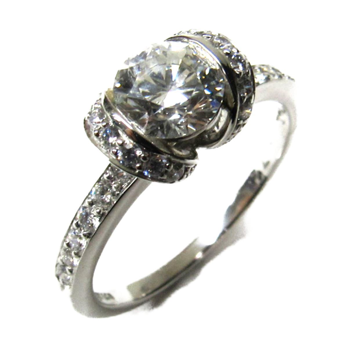 【中古】ティファニー リボンダイヤモンドリング ジュエリー 指輪 レディース プラチナ×ダイヤモンド(D0.72ct) シルバー