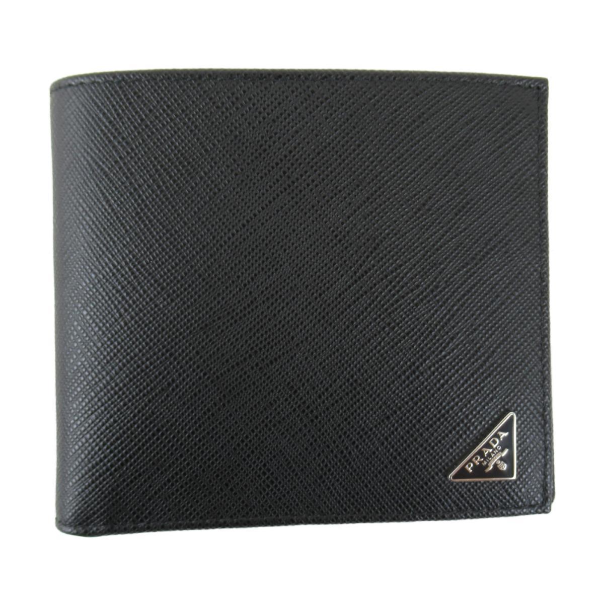 プラダ SLG サフィアーノ 二つ折り財布 札入れ メンズ レディース サフィアーノレザー ブラック (2MO513QHHF0002) | PRADA BRANDOFF ブランドオフ ブランド ブランド財布 財布 サイフ