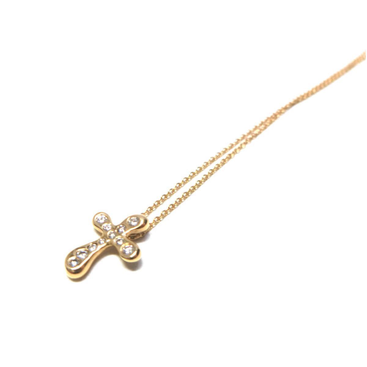 【中古】ティファニー ネックレス レディース K18YG(750) イエローゴールド x ダイヤモンド