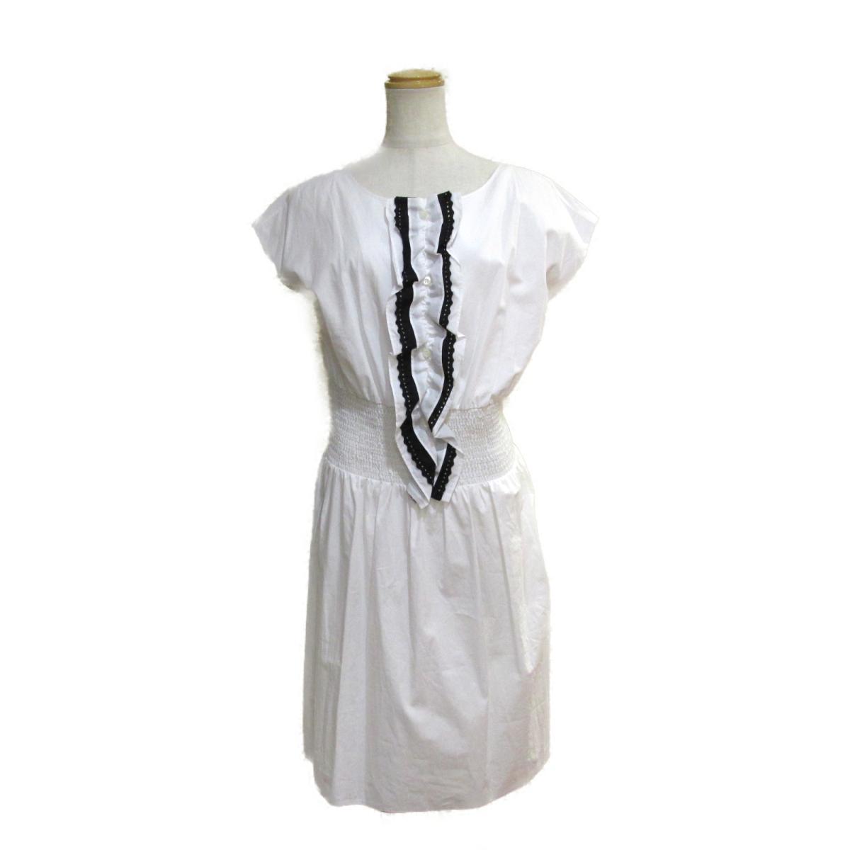 【中古】 プラダ ワンピース レディース コットン100% ホワイト ブラック | PRADA BRANDOFF ブランドオフ 衣料品 衣類 ブランド