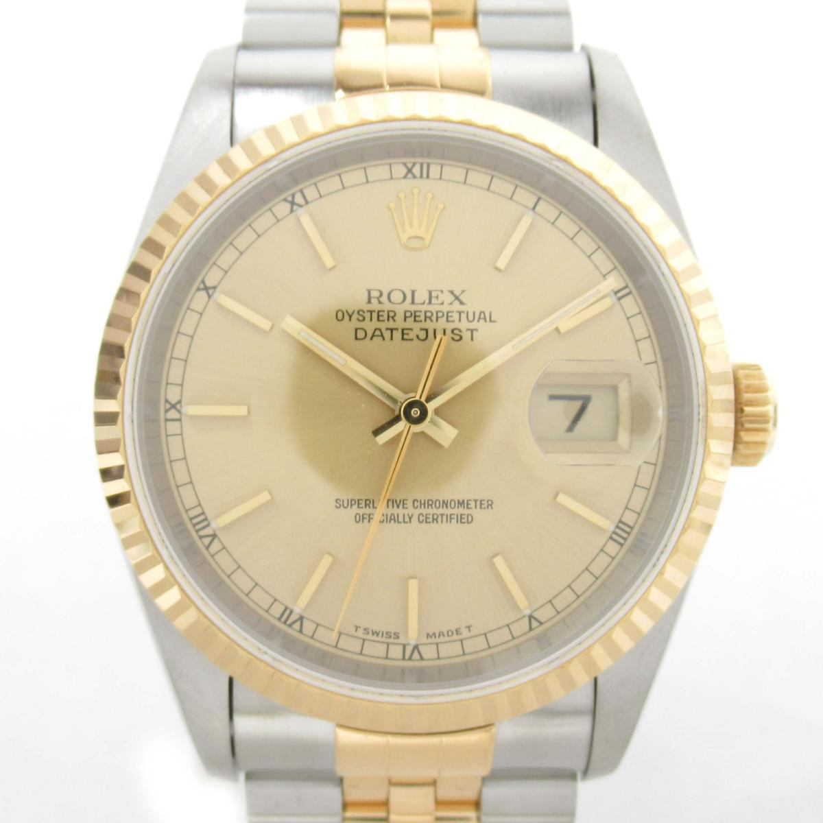 【中古】 ロレックス デイトジャスト ウォッチ 腕時計 メンズ K18YG (750)イエローゴールド x ステンレススチール (SS) (16233 T番) | ROLEX BRANDOFF ブランドオフ ブランド ブランド時計 ブランド腕時計 時計