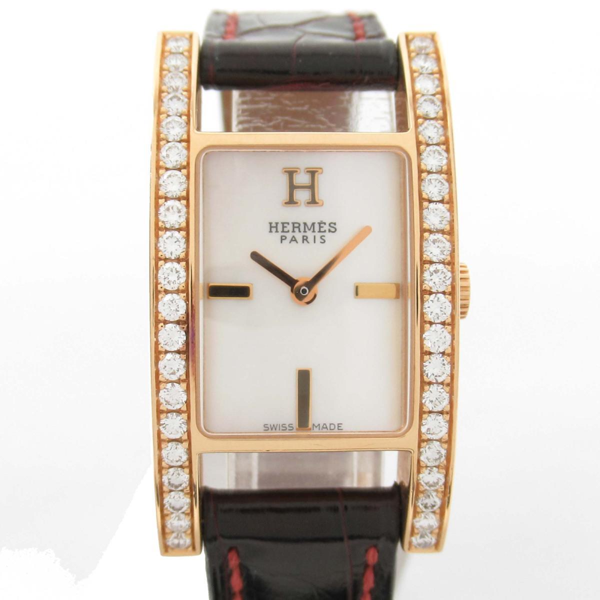 【中古】 エルメス アルコル ベゼルダイヤ ウォッチ 腕時計 レディース K18YG (750)イエローゴールド x レザーベルト (AC1.271) | HERMES BRANDOFF ブランドオフ ブランド ブランド時計 ブランド腕時計 時計