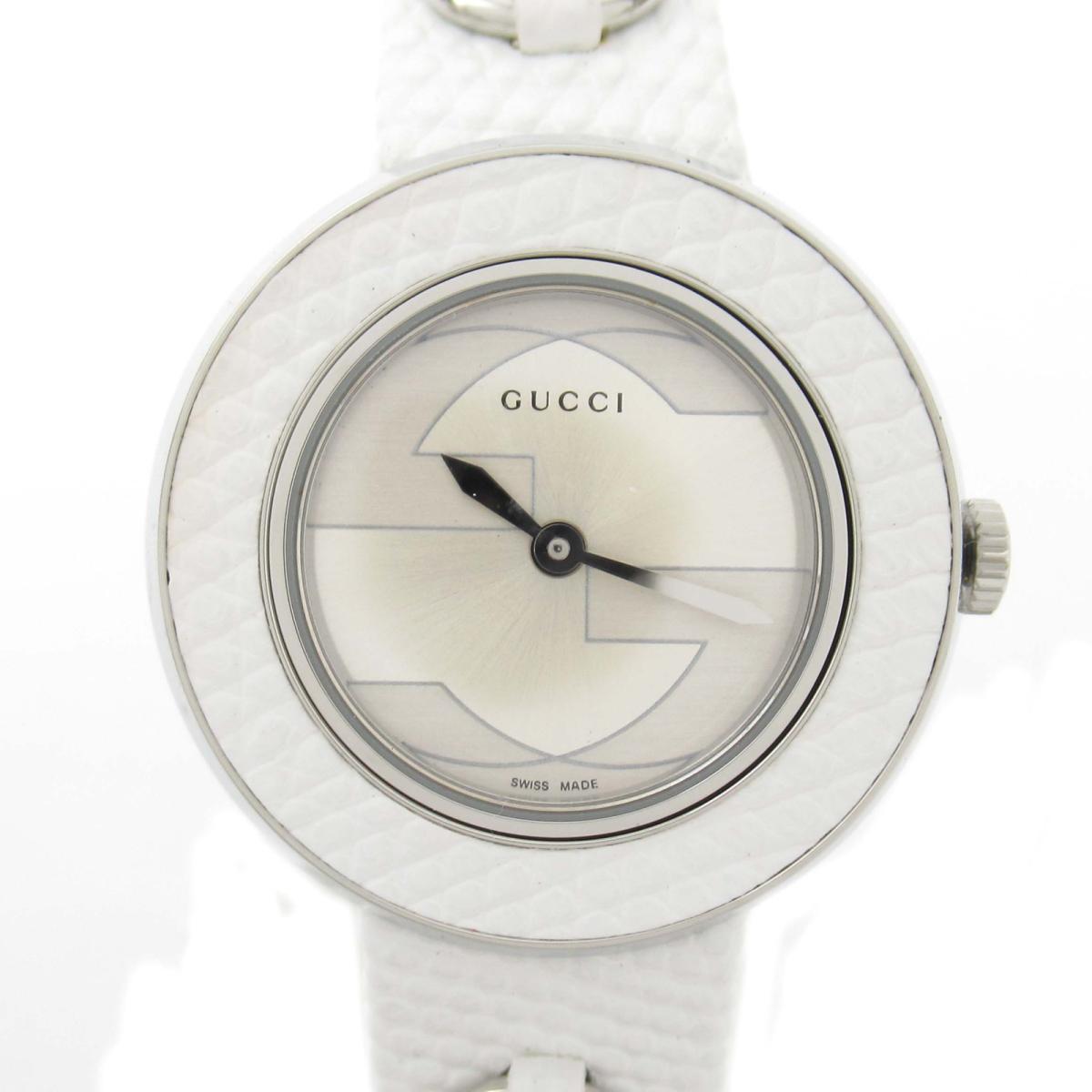 【中古】 グッチ ユープレイ ウォッチ 腕時計 レディース ステンレススチール (SS) x レザーベルト (129.5/YA129515) | GUCCI BRANDOFF ブランドオフ ブランド ブランド時計 ブランド腕時計 時計