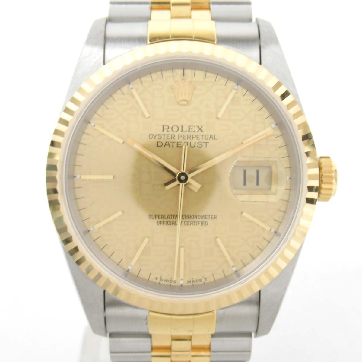 【中古】 ロレックス デイトジャスト ウォッチ 腕時計 メンズ K18YG (750)イエローゴールド x ステンレススチール (16233 S番 腕時計)   ROLEX BRANDOFF ブランドオフ ブランド ブランド時計 ブランド腕時計 時計