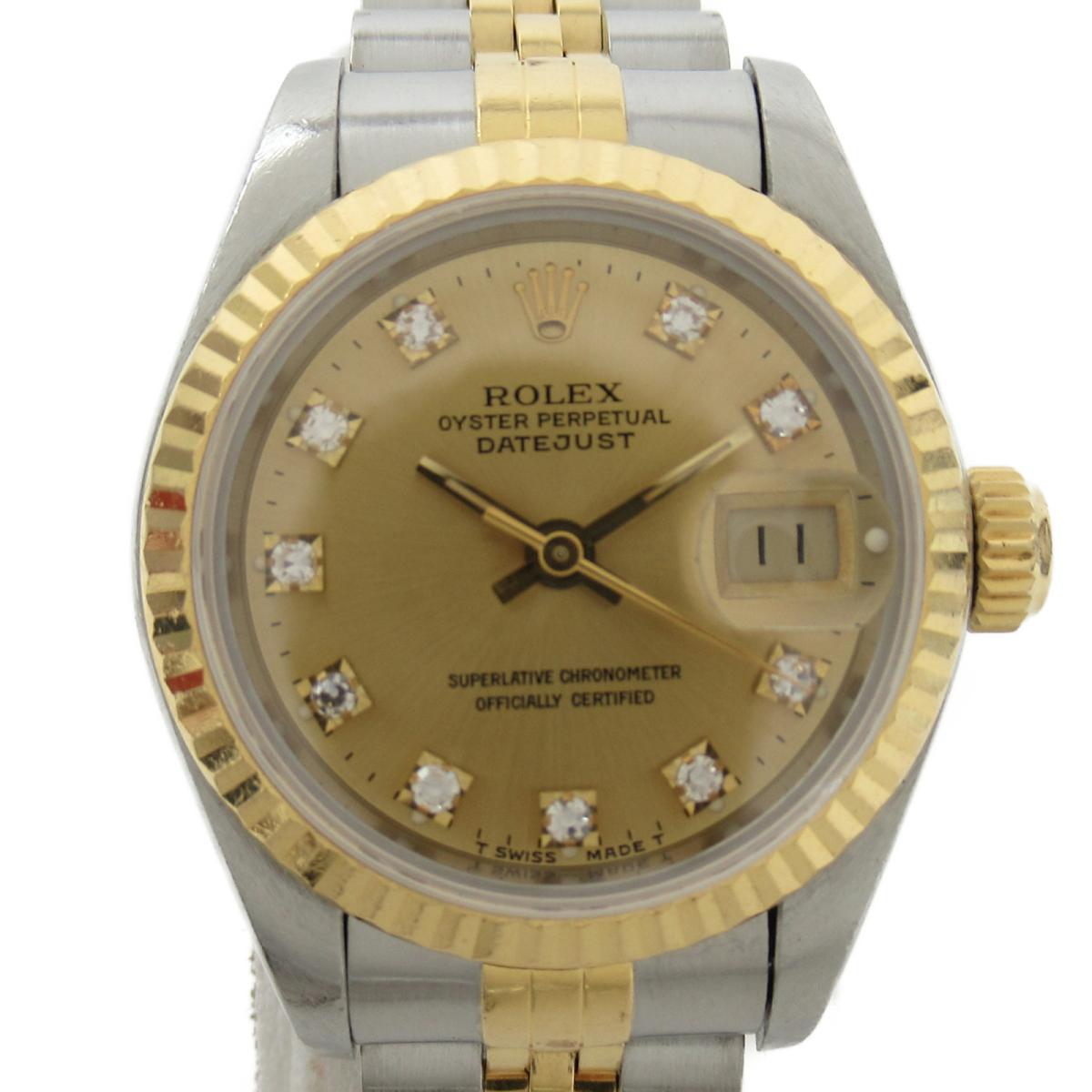 【中古】 ロレックス デイトジャスト 10Pダイヤ ウォッチ 腕時計 レディース K18YG (750)イエローゴールド x ステンレススチール (SS) ダイヤモンド (69173G C番) | ROLEX BRANDOFF ブランドオフ ブランド ブランド時計 ブランド腕時計 時計