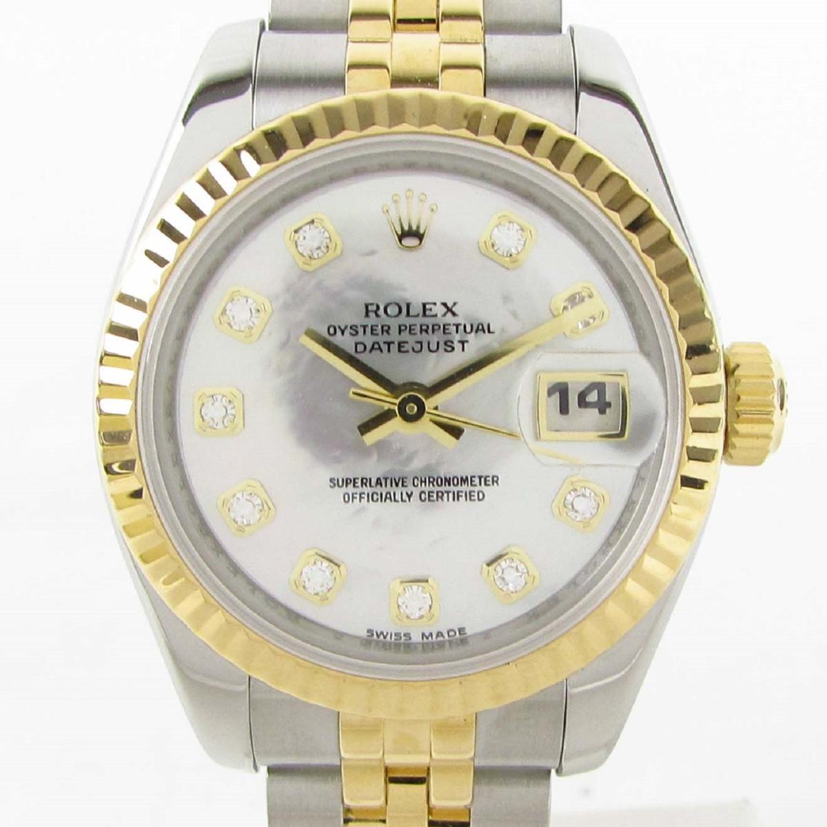 【中古】 ロレックス デイトジャスト 10Pダイヤ ウォッチ 腕時計 レディース K18YG (750)イエローゴールド x ステンレススチール (SS) (179173NG Z番) | ROLEX BRANDOFF ブランドオフ ブランド ブランド時計 ブランド腕時計 時計