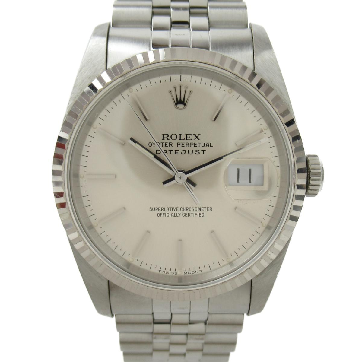 【中古】 ロレックス デイトジャスト ウォッチ 腕時計 メンズ K18WG (750)ホワイトゴールド x ステンレススチール (SS) (16234 E番) | ROLEX BRANDOFF ブランドオフ ブランド ブランド時計 ブランド腕時計 時計