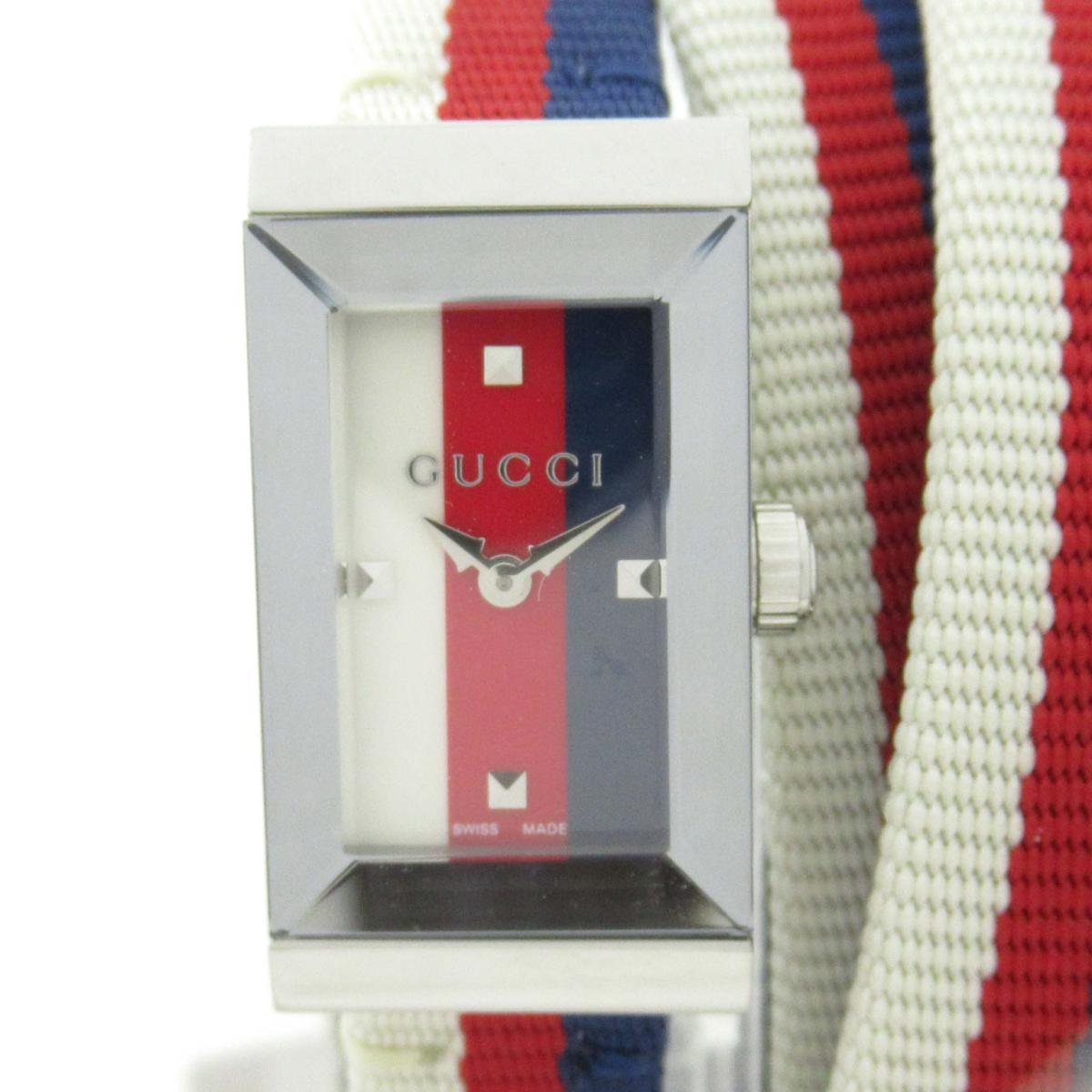 【中古】 グッチ Gフレーム トリプルループ ウォッチ 腕時計 レディース ステンレススチール (SS) x ナイロン (147.5/YA147502) | GUCCI BRANDOFF ブランドオフ ブランド ブランド時計 ブランド腕時計 時計