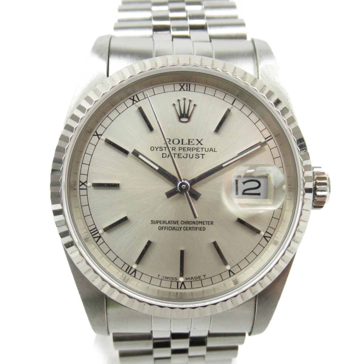 【中古】 ロレックス デイトジャスト ウォッチ 腕時計 メンズ K18WG (750)ホワイトゴールド x ステンレススチール (SS) (16234 R番) | ROLEX BRANDOFF ブランドオフ ブランド ブランド時計 ブランド腕時計 時計